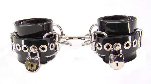 Locking PVC Ankle Cuffs Black Sex Toy Product