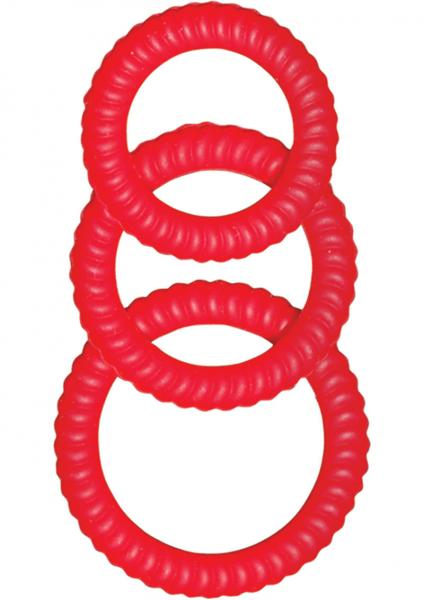 Ultra Cocksweller Silicone C Rings - Red Sex Toy Product
