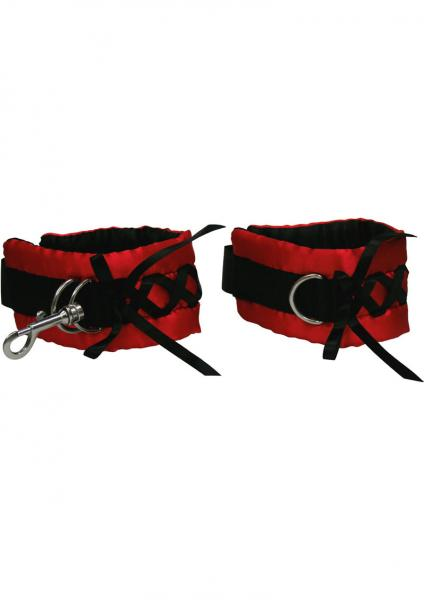 Tantric Satin Ties Wrist Cuffs Red with Black Sex Toy Product