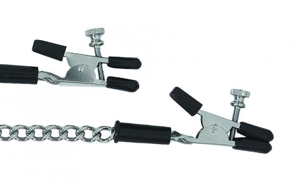 Adjustable Alligator Nipple Clamps With Link Chain Silver	 Sex Toy Product