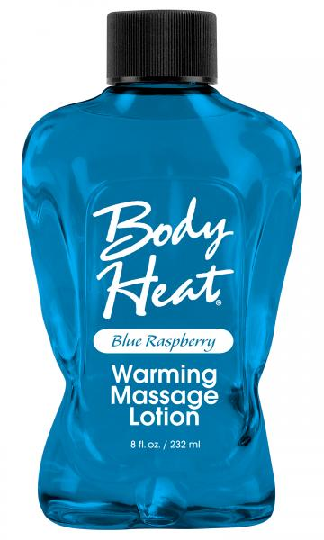 Body Heat Warming Massage Lotion Blue Raspberry 8oz Sex Toy Product