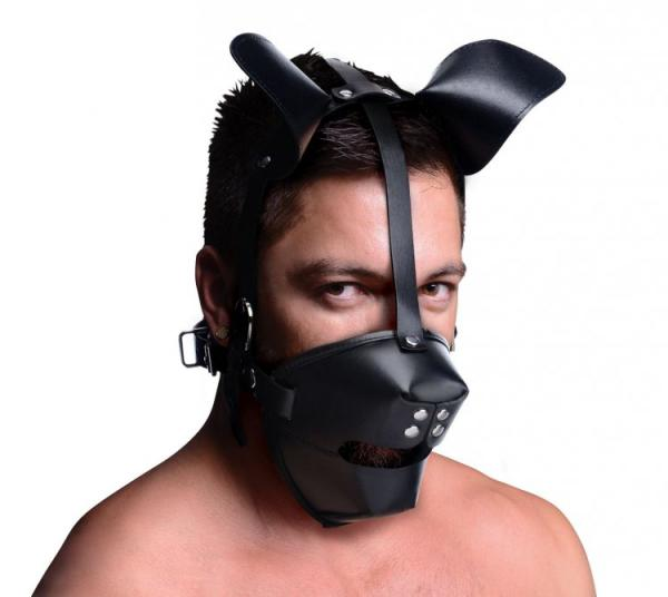 Pup Puppy Play Hood and Breathable Ball Gag Black Sex Toy Product