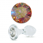 Crystal Delights Short Stem-Small Bulb Plug with Aurora Borealis Swarovski Element Sex Toy Product