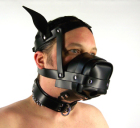 leather dog mask