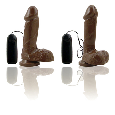 Natural Feel 6 inch Vibrating Cock with Suction Cup-brown