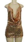 Sequined Backless Short Dress Gold Small/Medium