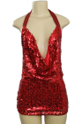 Sequined Backless Short Dress Red Small/Medium