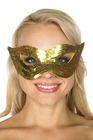 Be Wicked Sequin Mask Gold One Size