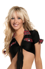 Black Tie Top with Plaid Trim Red One Size