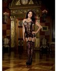 Lace Fishnet Halter Garter Dress with Opaque Bodice Lines One Size