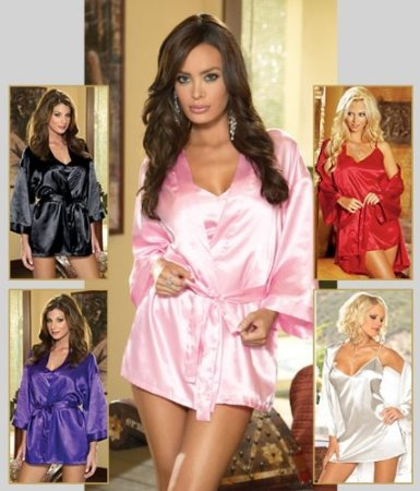 Dreamgirl Women&#039;s Shalimar Charmeuse Babydoll with Robe Set White Small