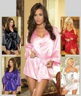 Dreamgirl Women's Shalimar Charmeuse Babydoll with Robe Set Blue Medium