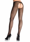 Fishnet Crotchless Pantyhose One Size Plus Black