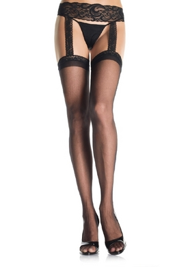 Sheer Lace Top Stockings with Attached Lace Garterbelt Black Plus Size