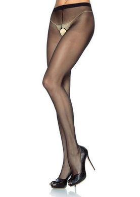 Sheer Nylon Crotchless Pantyhose Black