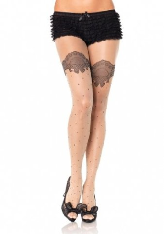Leg Avenue Spandex Sheer Polka Dot Pantyhose with Printed Scalloped Lace Accent One Size