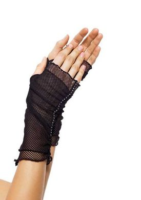 Fishnet Fingerless Gloves with Faux Rhinestone Trim