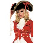 Leg Avenue Hat Pirate Black with Red Ribbons One Size