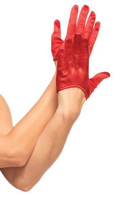 Mini Cropped Satin Gloves Red