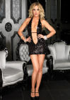 Deep-V Sequin Halter Mini Dress Black Large