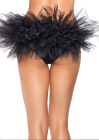 Spandex Tanga Panty with Tulle Ruffle Back Black