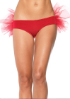Spandex Tanga Panty with Tulle Ruffle Back Red
