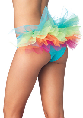 Spandex Tanga Panty with Rainbow Tulle Ruffle Back