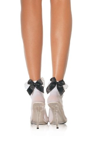 Leg Avenue Stocking Bow And Lace Ruffle White One Size
