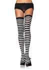 Nylon Striped Thigh Highs White/Blue