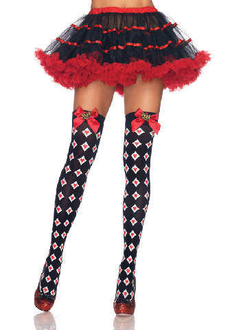 Royal Diamond and Heart Thigh Highs with Bow Crown Charm