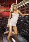 2 PC. Lace Mini Dress with Lace Up Front and Matching G-String One Size Neon Green