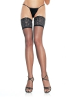 Spandex Sheer Thigh Highs with 5 inch Stay Up Lace Top Red
