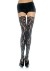 Rose Lace Stockings with Lace Top Red