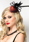 Retro Lurex Fascinator Hair Clip with Feather Detail and Organdy Bow with Rhinestone Accent