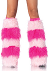Leg Avenue Striped Furry Leg Warmer Hot Pink/Pink One Size