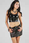 Lydia Studded Leather Punk Top Silver Medium
