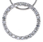 Sterling Silver Jeweled Circle Pendant, w/ Cubic Zirconia stones, 15/16 (24 mm) tall""