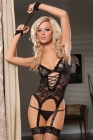 Midnight Affair Cami, Garters (Packaged)  Handcuffs & Thong Plus Size