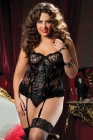 Paisley Pleasure Bustier & Thong Black Plus 3X/4X