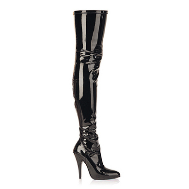 Seduce 5 Blk Stretch Thigh Boot 9