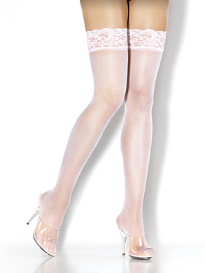 Desire Hosiery- White Lace Top Sheer Thigh High Stocking- One Size