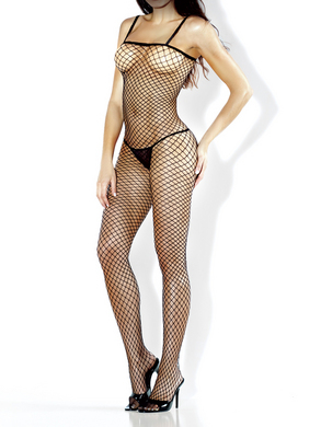 Desire Hosiery- Diamond Net Bodystocking w/ Black Spaghetti Straps-One Size