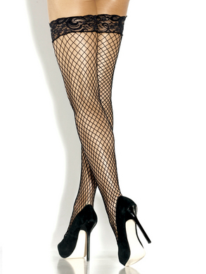Desire Hosiery- Black Diamond Net Thigh High w/ Lace Top & Silicone Grip- One Size