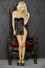 Simply Sexy Bridal- I Do!-Black Low Back Bustier Babydoll w/ Embroidered Applique & G-string- Large