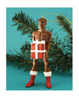 Male african american xmas package ornament
