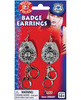 Hottie police badge earrings