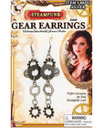 Steampunk gear earrings - silver