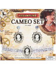 Steampunk cameo earrings and choker set