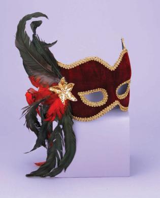 Karneval 1/2 mask - feathers maroon