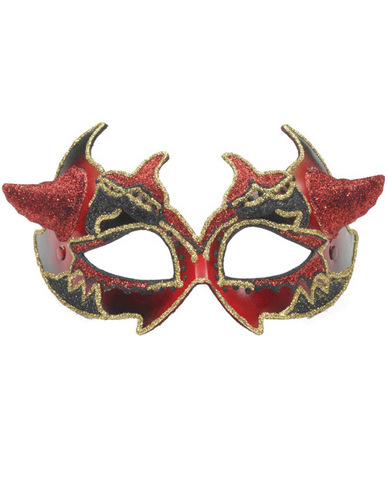 Venetian Mask Red Devil Horns